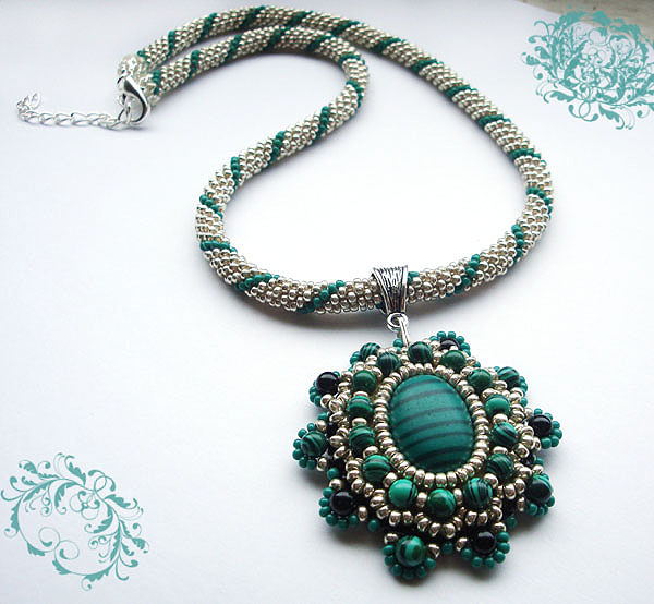 Crocheted beads rope- necklace with vintage style, malachite pendant ,handmade jewellery,beaded jewelry