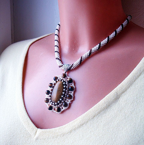 Crochet beads rope- necklace a beige with vintage style, tiger eye cabochon pendant
